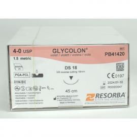 GLYCOLON VIOLET: SUTURE RESORBABLE MONOFIL 4/0 DS18 X 24
