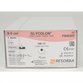 GLYCOLON VIOLET: SUTURE RESORBABLE MONOFIL 5/0 HR17 X 24